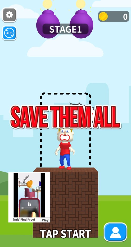 YouTube広告アプリ。save them all